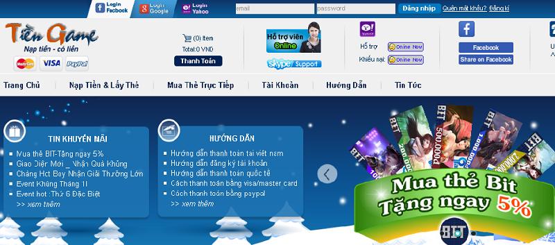 Giao diện website tiengame.com