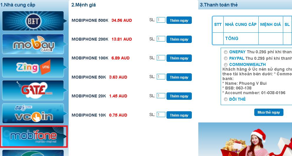 Nạp thẻ mobiphone giá rẻ
