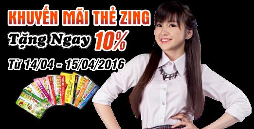 Khuyến mãi thẻ Zing –tặng ngay 10%
