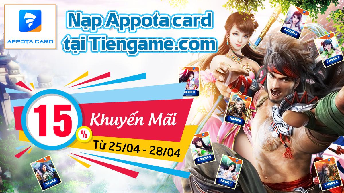 Nạp thẻ Appota tại Tiengame.com - Khuyến mãi 10-15%