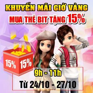 KHUYẾN MÃI GIỜ VÀNG  MUA THẺ BIT TẶNG 15% CHIẾT KHẤU