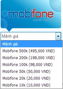 Mua card mobifone Việt Nam thanh toán trực tuyến