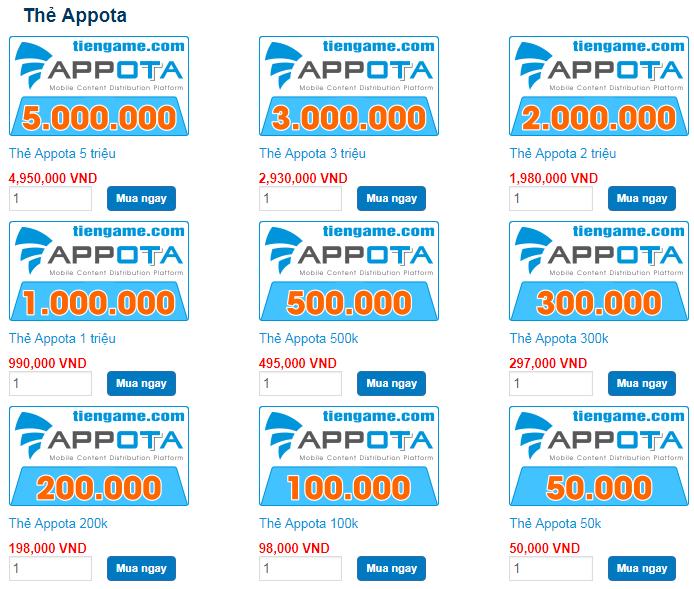 Cách mua thẻ appota online giá rẻ và nhanh chóng