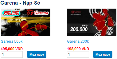 Thẻ Garena và cách nạp thẻ Garena cho game online
