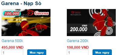 Mua thẻ Garena online ở Tiengame nhận ngay chiết khấu 5% 2