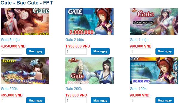 Các mệnh giá thẻ Gate được bán tại Tiền Game