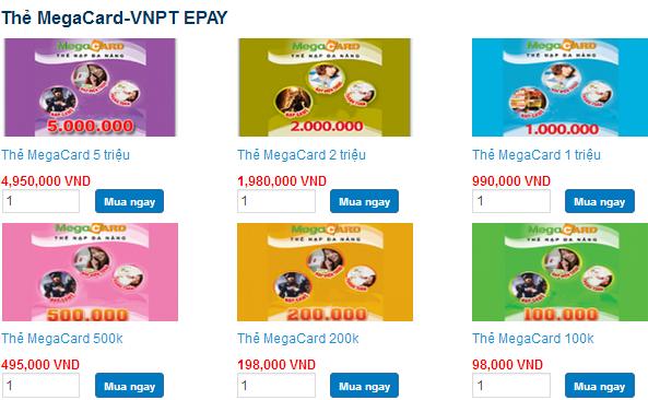 Mua thẻ Megacard online thanh toán qua Onecom (Visa, mastercard)