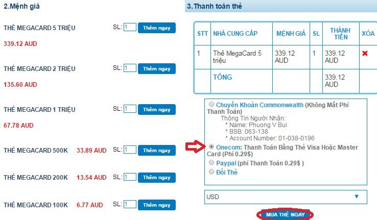 Mua thẻ Megacard online thanh toán qua Onecom (Visa, mastercard) h3