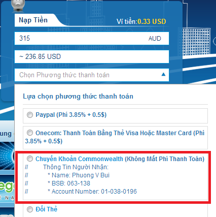 Nạp Thẻ Vcoin bằng Commonwealth bank h3