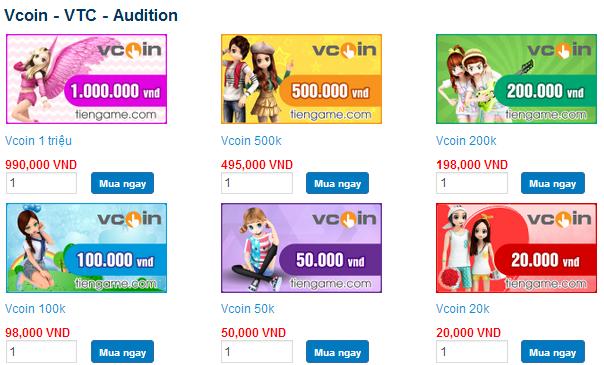 Mua Thẻ Vcoin Của VTC Thanh Toán  Qua Visa, Mastercard