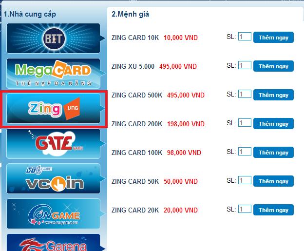Hướng Dẫn Mua Card Zing Việt Nam Online Tại Tiengame.com