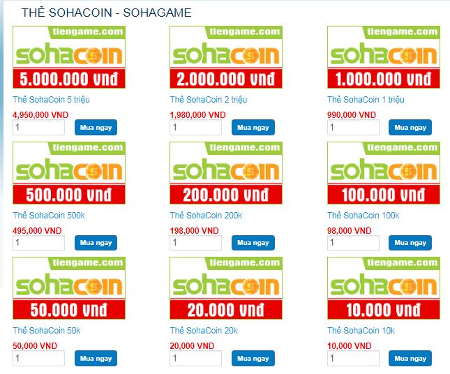 mệnh giá thẻ SohaCoin