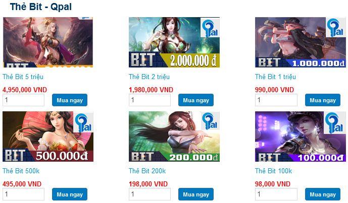 Mệnh giá thẻ BIT tại tiengame.com