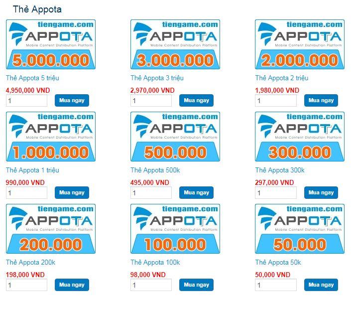 các mệnh giá thẻ appota