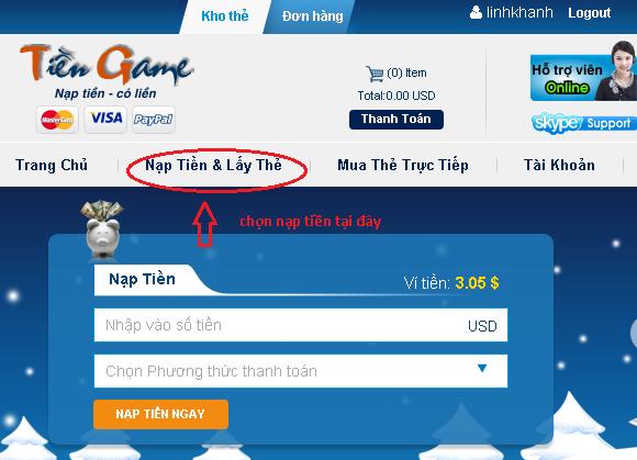 Mua thẻ điện thoại ở nước ngoài, hãy chọn tiengame.com