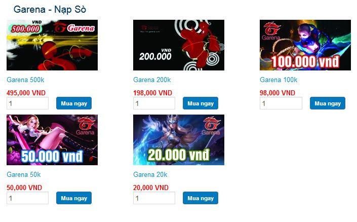 những mệnh giá thẻ zing tại Tiengame.com