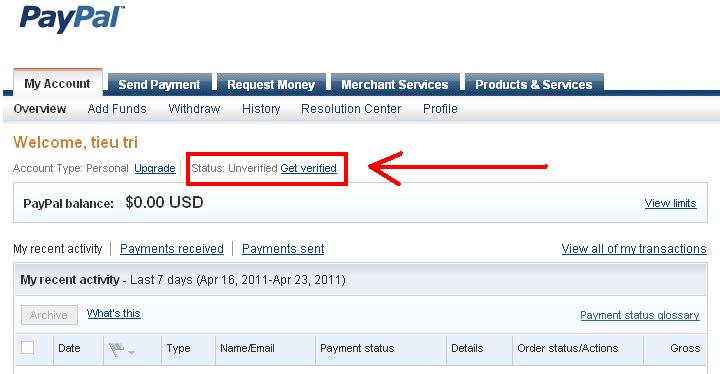 Làm thế nào Verified được tài khoản paypal h1