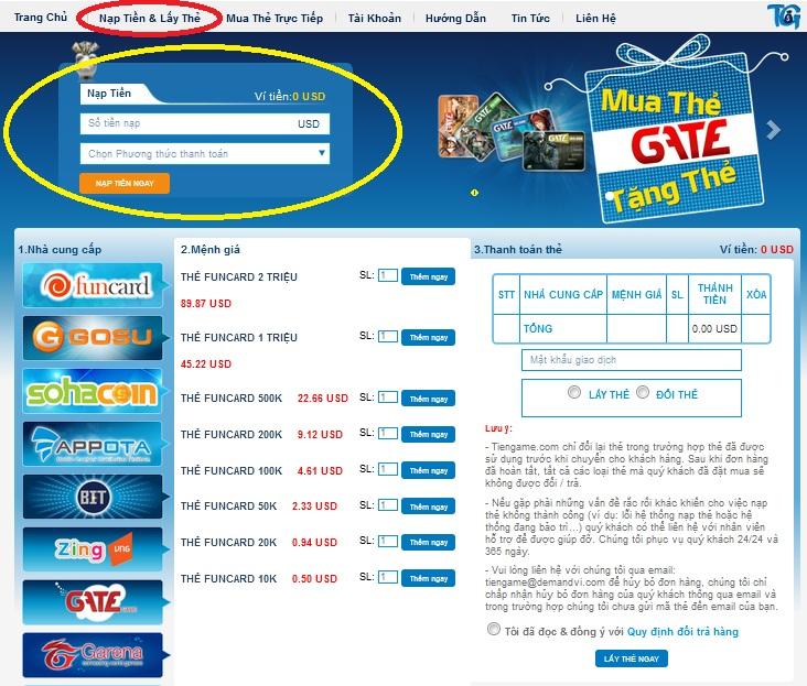 Mua thẻ game online thanh toán qua thẻ Visa Mastercard