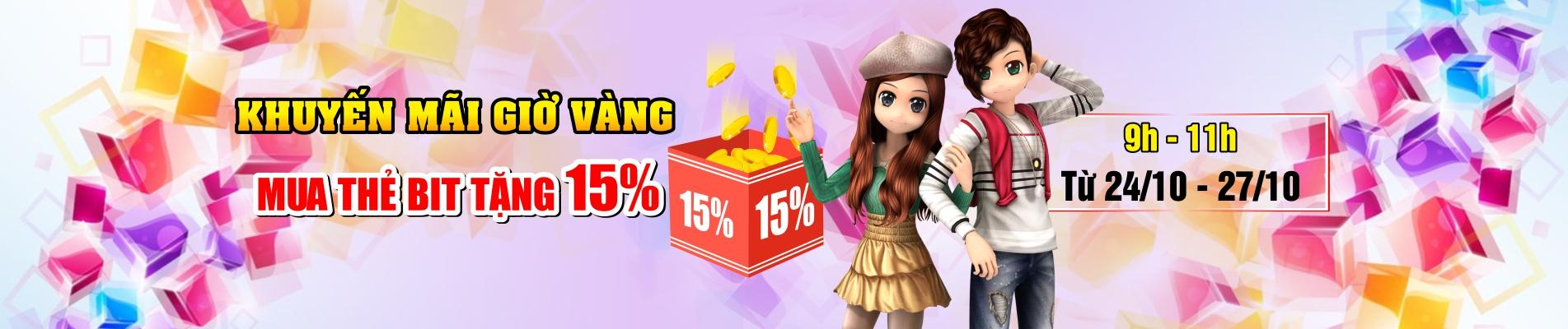 Khuyến mãi giờ vàng - mua thẻ bit nhận 15% chiết khấu