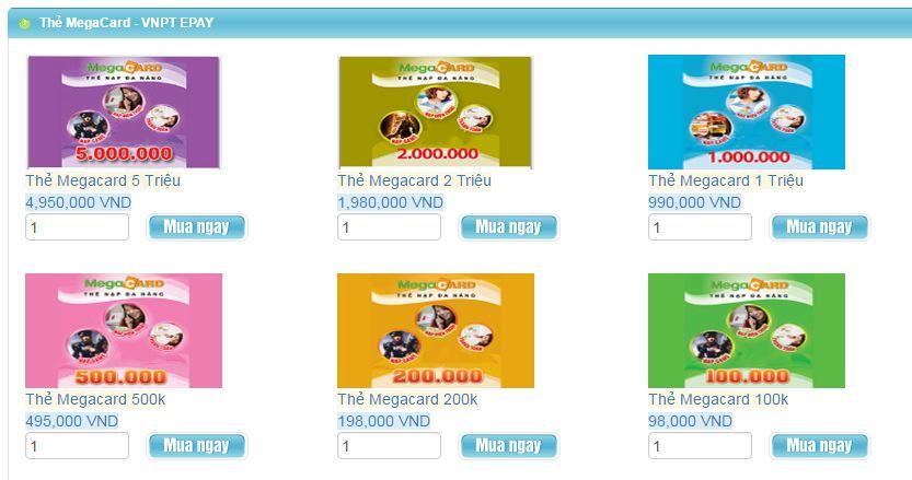 Các mệnh giá thẻ Megacard được bán tại Tiền Game