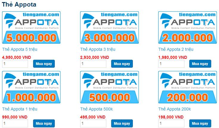 Hãy mua thẻ appota online nhanh chóng cùng Tiengame.com h2