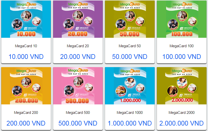 Các mệnh giá của thẻ megacard