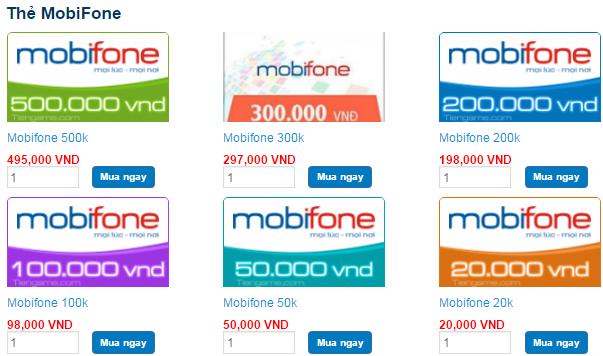 Mua thẻ Mobifone trực tuyến, chiết khấu cực khủng