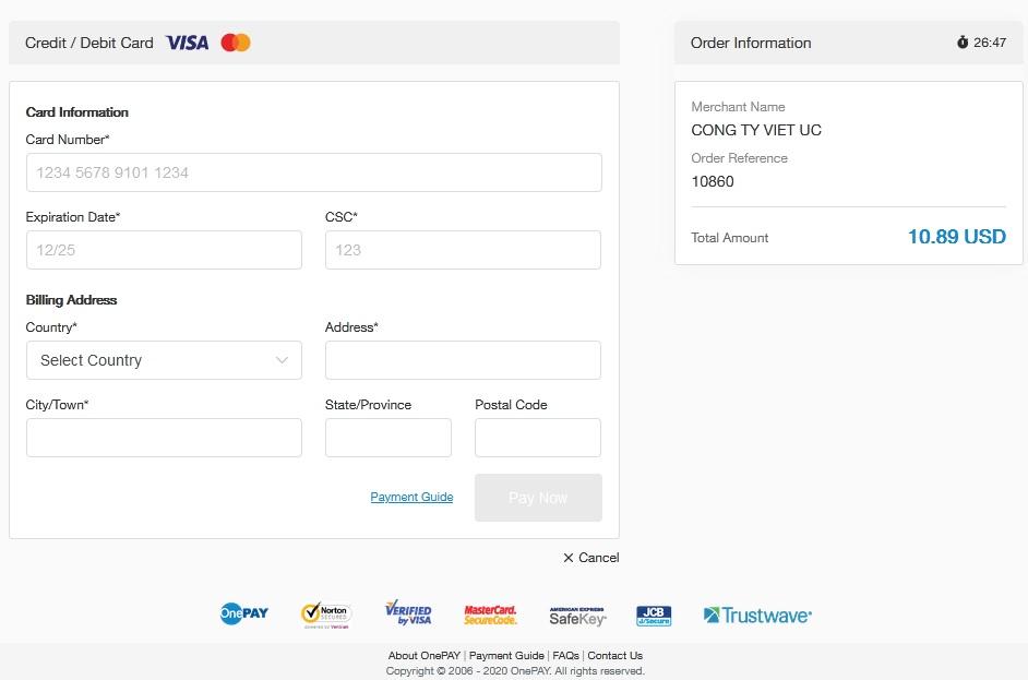 Mua thẻ game thanh toán bằng thẻ Visa Mastercard
