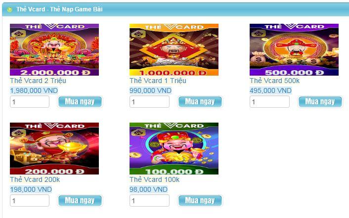 mua thẻ vcard 100k