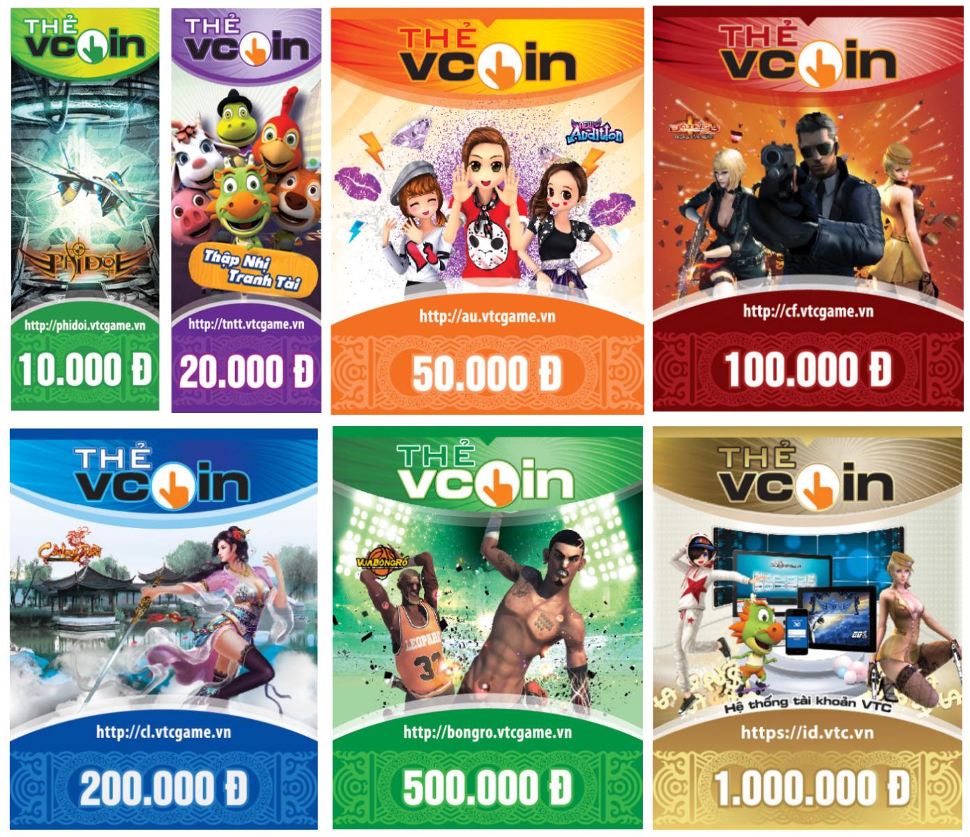Các mệnh giá thẻ vcoin online