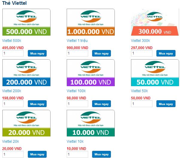 Các mệnh giá thẻ viettel tại tiengame.com